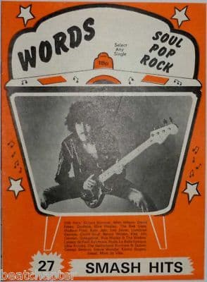 Record Song Book WORDS Magazine Thin Lizzy 1-10-1977