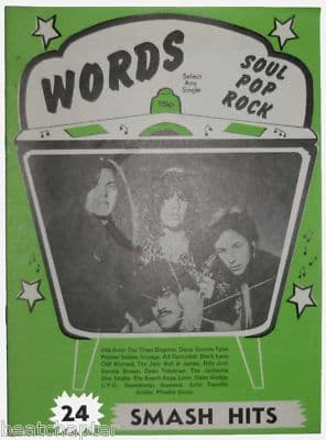 Record Song Book WORDS Magazine Thin Lizzy 1-5-1979