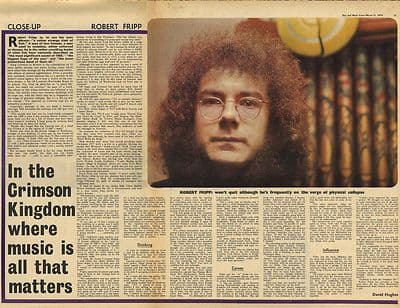 Robert Fripp KING CRIMSON Interview Vintage Music Press Article/cutting/clipping 1970