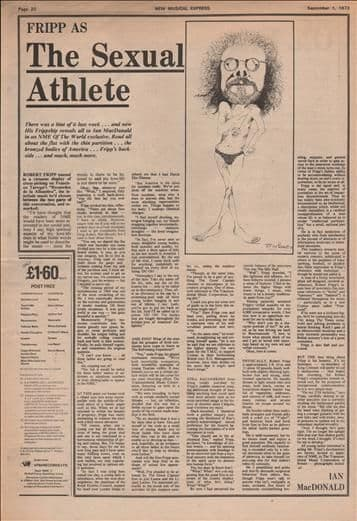 Robert Fripp The sexual athlete Interview Music Press Article/cutting/clipping 1973