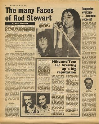Rod Stewart FACES BREWER SHIPLEY Vintage Music Press Article/cutting/clipping 1971