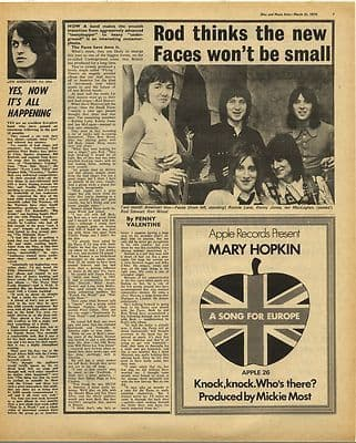Rod Stewart FACES MARY HOPKIN Vintage Music Press Article/cutting/clipping 1970