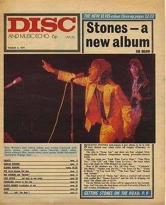 Rolling Stones Disc Cover Original Vintage music Press cutting/clipping 1971