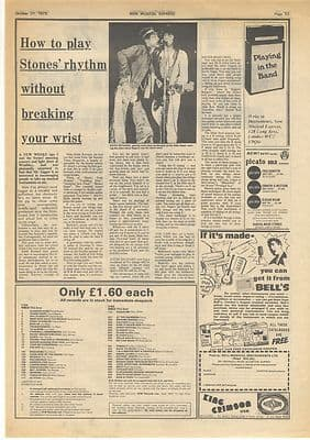Rolling Stones How to play rhythm Vintage Music Press article/cutting/clipping 1973