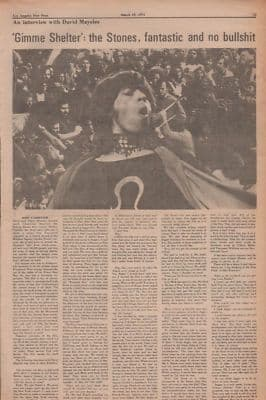 Rolling Stones Interview with David Maysles Gimme Shelter 1971 cutting/clipping/article