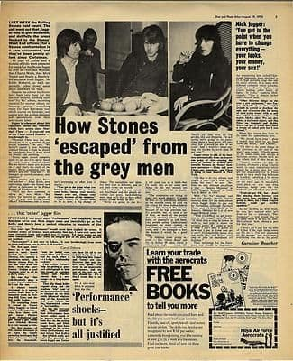 Rolling Stones JAGGER Interview Vintage Music Press article/cutting/clipping 1970