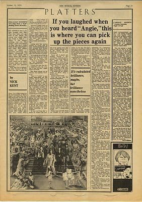 Rolling Stones Only Rock n roll review Vintage Music Press Article/cutting/clipping 1974