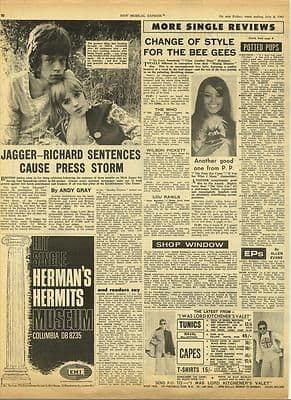 Rolling Stones Prison Sentences storm Vintage Music Press article/cutting/clipping 1967
