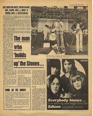 Rolling Stones Roadie Chip Monck Interview Vint Music Press Article/cutting/clipping 1971