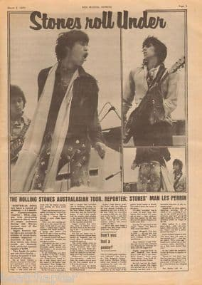 Rolling Stones Stones Roll Under original Vintage Music Press Article cutting/clipping 1973