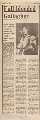 Rory Gallagher Full Blooded original Vintage Music Press Article cutting/clipping 1973