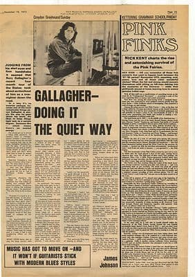 Rory Gallagher Interview Pink Fairies Vintage Music Press Article/cutting/clipping 1972