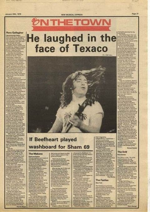 Rory Gallagher MEKONS CURE Live reviews Article/cutting/clipping 1979