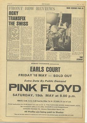 Roxy Music Live Montreux article Pink Floyd Ad Original Vintage music Press cutting/clipping 1973