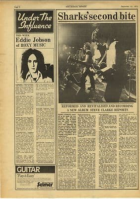 Roxy Music The Sharks Second Bite Vintage Music Press Article/cutting/clipping 1973