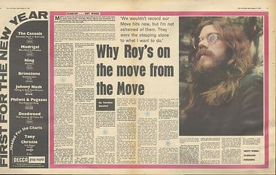 Roy Wood MOVE Interview centre pages Vintage Music Press article/cutting/clipping 1971