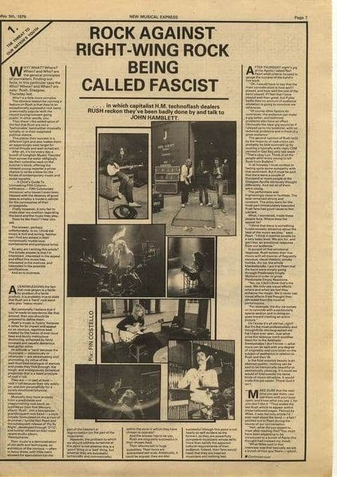 Rush 1.5 page Interview Article/cutting/clipping 1979