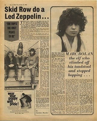 SKID ROW MARC BOLAN Vintage Music Press Article/cutting/clipping 1970