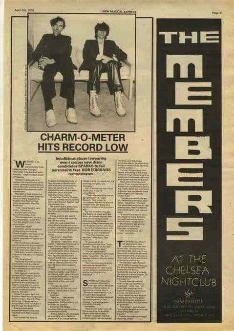 Sparks Charm O Meter-Interview MEMBERS article press cutting/clipping 1979