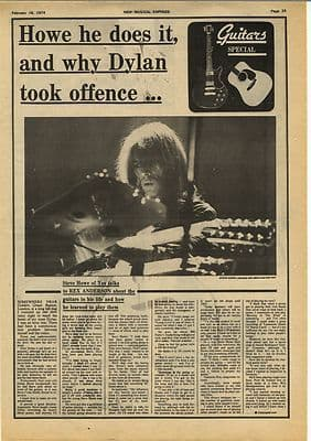 STEVE HOWE of YES Interview Vintage Music Press Article/cutting/clipping 1974