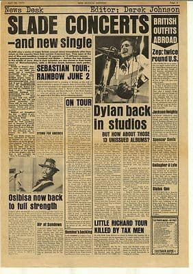 Slade Bob Dylan Vintage Music Press Article/cutting/clipping 1973