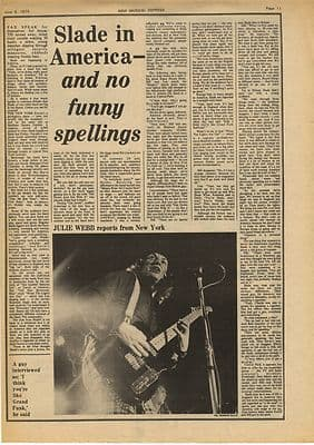 Slade In America Interview Vintage Music Press Article/cutting/clipping 1974