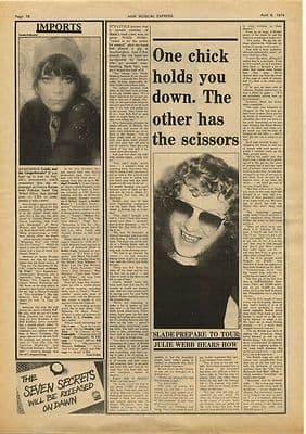 Slade Interview Vintage Music Press Article/cutting/clipping 1974