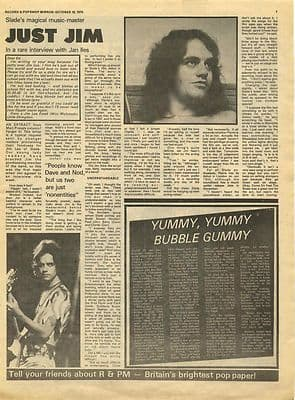 Slade Jim Lea Interview Vintage Music Press article/cutting/clipping 1974
