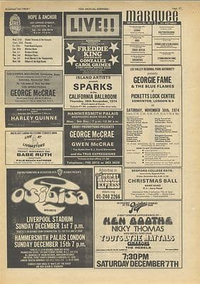Sparks TOOTS MAYTALS OSIBISA gig guide Vintage Music Press article/cutting/clipping 1974