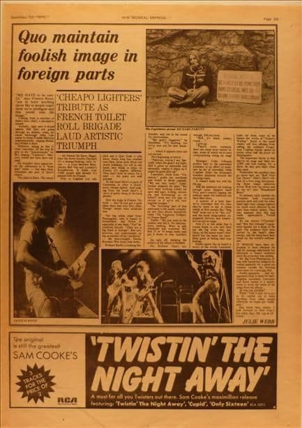 Status Quo maintain foolish image Music Press Article/cutting/clipping 1975