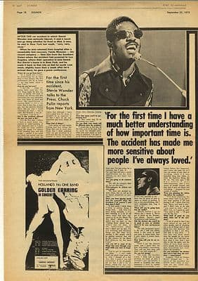 Stevie Wonder Interview Vintage Music Press Article/cutting/clipping 1973