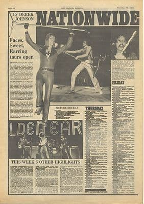 Sweet Golden Earring FACES tour news Vintage Music Press article/cutting/clipping 1974