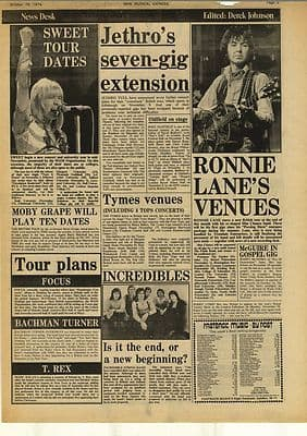 Sweet Jethro Tull RONNIE LANE Vintage Music Press Article/cutting/clipping 1974