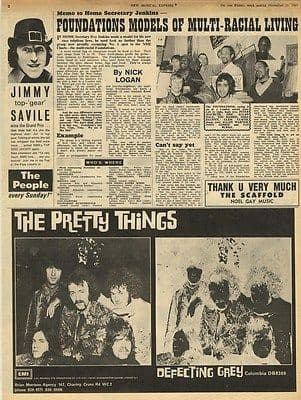 THE Pretty Things Defecting Grey Advert Original Vintage music Press cutting/clipping 1967