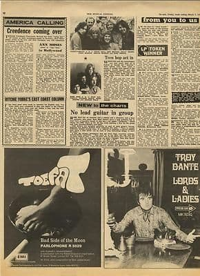 TOE FAT TROY DANTE Vintage Music Press article/cutting/clipping 1970