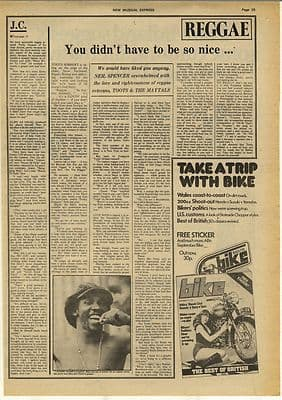 TOOTS HIBBERT Maytals Vintage Music Press Article/cutting/clipping 1974