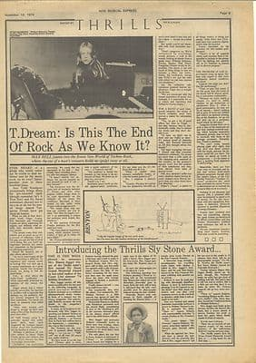 Tangerine Dream is this the end of.. Vintage Music Press article/cutting/clipping 1974