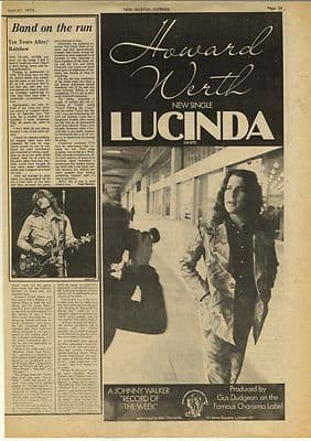 Ten Years After Rainbow Concert Review Vintage Music Press Article/cutting/clipping 1974