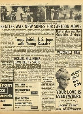 The Beatles TREMELOES Hollies Bee Gees Vintage Music Press article/cutting/clipping 1967