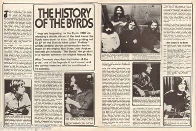 The Byrds History of 2 pageOriginal Vintage music Press cutting/clipping 1973
