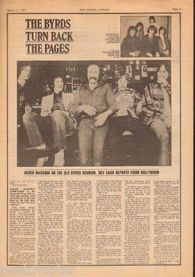 The Byrds Turn back the pages original Vintage Music Press Article cutting/clipping 1973