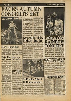 The Faces MIKE OLDFIELD Vintage Music Press Article/cutting/clipping 1974