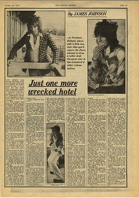 The Faces One more wrecked hotel Vintage Music Press Article/cutting/clipping 1974