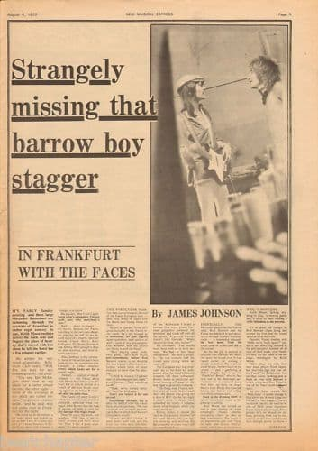 The Faces in Frankfurt Music Press Article cutting/clipping 1973
