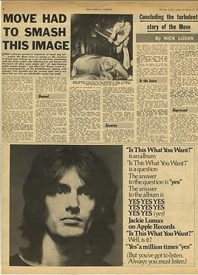 The Move Had to smash this image Vintage Music Press article/cutting/clipping 1969