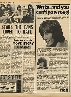 The Move Story by Nick Logan Vintage Music Press article/cutting/clipping 1969
