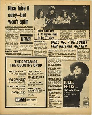 The Nice MARY HOPKIN MAMA CASS Vintage Music Press Article/cutting/clipping 1970