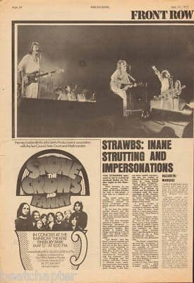 The Strawbs Live Review original Vintage Music Press Article cutting/clipping 1973