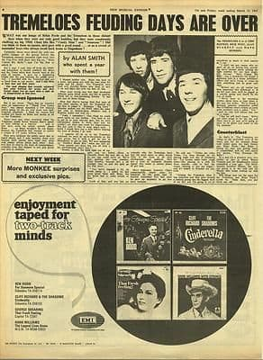 The Tremeloes Interview Vintage Music Press article/cutting/clipping 1967
