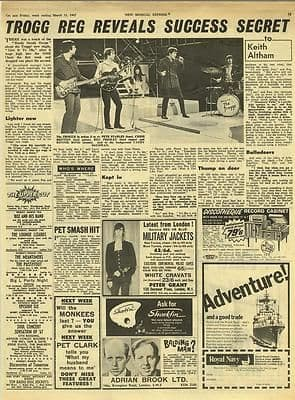 The Troggs Reg Presley Interview Vintage Music Press article/cutting/clipping 1967